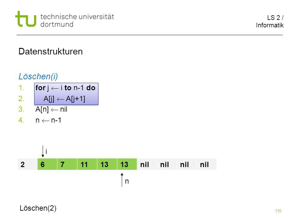 Datenstrukturen Löschen(i) for j  i to n-1 do A[j]  A[j+1]